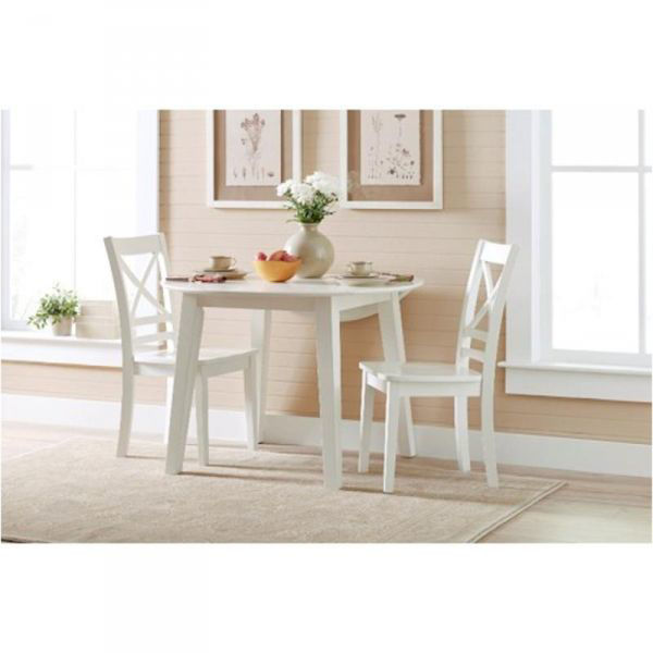 Picture of SIMPLICITY PAPERWHITE ROUND DROP LEAF TABLE