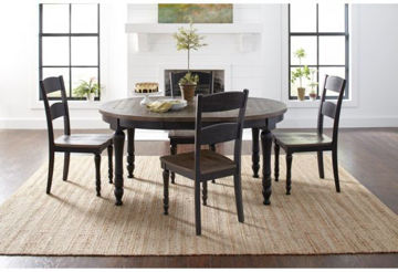 "Picture of MADISON COUNTY ROUND TO OVAL LEG TABLE W/18""LEAF"